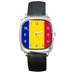 Civil Flag Of Andorra Square Metal Watch