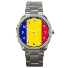 Civil Flag Of Andorra Sport Metal Watch