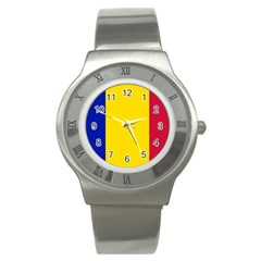 Civil Flag Of Andorra Stainless Steel Watch