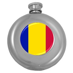 Civil Flag Of Andorra Round Hip Flask (5 Oz)