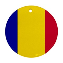 Civil Flag Of Andorra Round Ornament (two Sides)