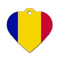 Civil Flag Of Andorra Dog Tag Heart (two Sides)