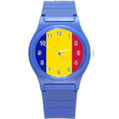 Civil Flag Of Andorra Round Plastic Sport Watch (s)