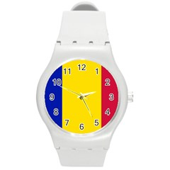 Civil Flag Of Andorra Round Plastic Sport Watch (m)