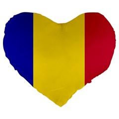 Civil Flag Of Andorra Large 19  Premium Heart Shape Cushions
