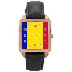 Civil Flag Of Andorra Rose Gold Leather Watch
