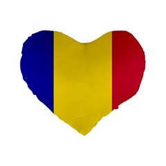 Civil Flag Of Andorra Standard 16  Premium Flano Heart Shape Cushions