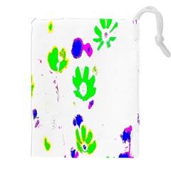 Green Flowers Pattern Drawstring Pouches (xxl)