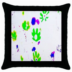 Green Flowes Pattern Throw Pillow Case (black)
