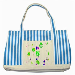Green Flowes Pattern Striped Blue Tote Bag