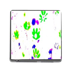 Green Flowes Pattern Memory Card Reader (square)