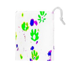 Green Flowes Pattern Drawstring Pouches (large)