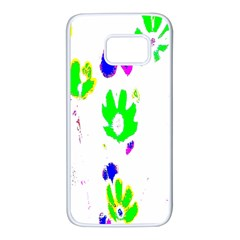 Green Flowes Pattern Samsung Galaxy S7 White Seamless Case