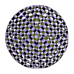 Hypnotic Geometric Pattern Round Filigree Ornament (two Sides)