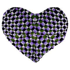 Hypnotic Geometric Pattern Large 19  Premium Flano Heart Shape Cushions by dflcprints