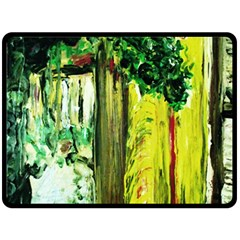 Old Tree And House With An Arch 8 Double Sided Fleece Blanket (large)