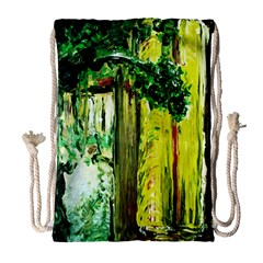 Old Tree And House With An Arch 8 Drawstring Bag (large) by bestdesignintheworld