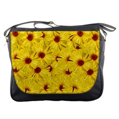 Yellow Flowers Messenger Bags by girleyjanedesigns