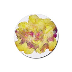 Yellow Rose Rubber Round Coaster (4 Pack)  by aumaraspiritart