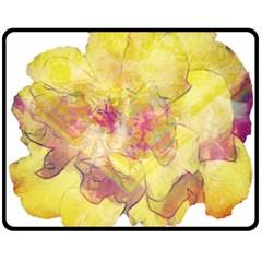 Yellow Rose Double Sided Fleece Blanket (medium)  by aumaraspiritart