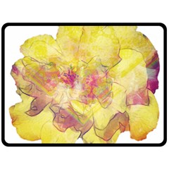 Yellow Rose Double Sided Fleece Blanket (large)  by aumaraspiritart