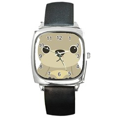 Animal Bear Cartoon Children Kids Square Metal Watch by Simbadda