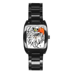 Animal Bird Cartoon Comic Eagle Stainless Steel Barrel Watch by Simbadda