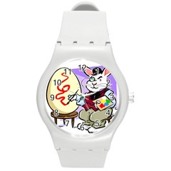 Bunny Easter Artist Spring Cartoon Round Plastic Sport Watch (m)