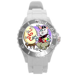 Bunny Easter Artist Spring Cartoon Round Plastic Sport Watch (l)