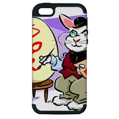 Bunny Easter Artist Spring Cartoon Apple Iphone 5 Hardshell Case (pc+silicone)