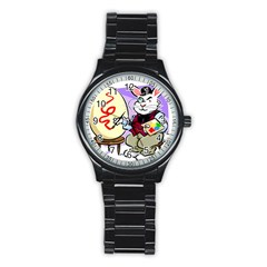 Bunny Easter Artist Spring Cartoon Stainless Steel Round Watch