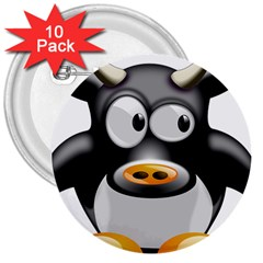 Cow Animal Mammal Cute Tux 3  Buttons (10 Pack)