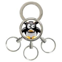 Cow Animal Mammal Cute Tux 3 Ring Key Chains