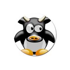 Cow Animal Mammal Cute Tux Magnet 3  (round)