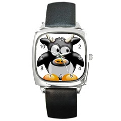 Cow Animal Mammal Cute Tux Square Metal Watch