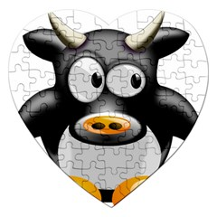 Cow Animal Mammal Cute Tux Jigsaw Puzzle (heart)