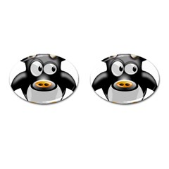 Cow Animal Mammal Cute Tux Cufflinks (oval)