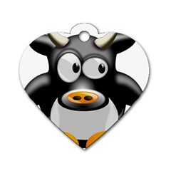 Cow Animal Mammal Cute Tux Dog Tag Heart (two Sides)
