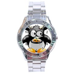 Cow Animal Mammal Cute Tux Stainless Steel Analogue Watch