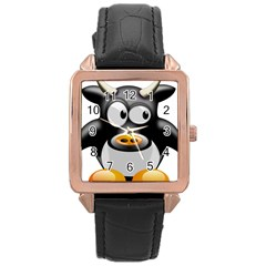 Cow Animal Mammal Cute Tux Rose Gold Leather Watch