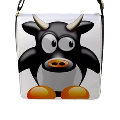 Cow Animal Mammal Cute Tux Flap Messenger Bag (l)