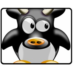 Cow Animal Mammal Cute Tux Double Sided Fleece Blanket (medium)