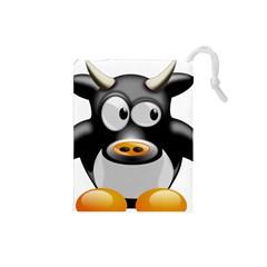 Cow Animal Mammal Cute Tux Drawstring Pouches (small)