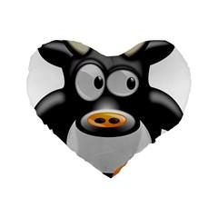 Cow Animal Mammal Cute Tux Standard 16  Premium Flano Heart Shape Cushions