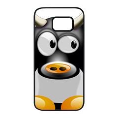 Cow Animal Mammal Cute Tux Samsung Galaxy S7 Edge Black Seamless Case