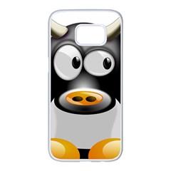 Cow Animal Mammal Cute Tux Samsung Galaxy S7 Edge White Seamless Case