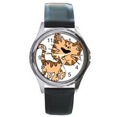 Cats Kittens Animal Cartoon Moving Round Metal Watch