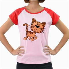 Cats Kittens Animal Cartoon Moving Women s Cap Sleeve T Shirt