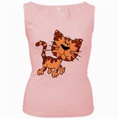 Cats Kittens Animal Cartoon Moving Women s Pink Tank Top
