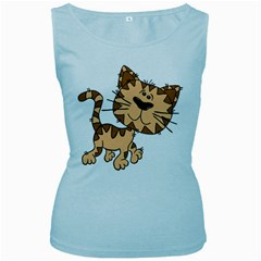 Cats Kittens Animal Cartoon Moving Women s Baby Blue Tank Top